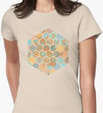 Golden Honeycomb Tangle - hexagon doodle in peach, blue, mint & cream Womens Fitted T-Shirt