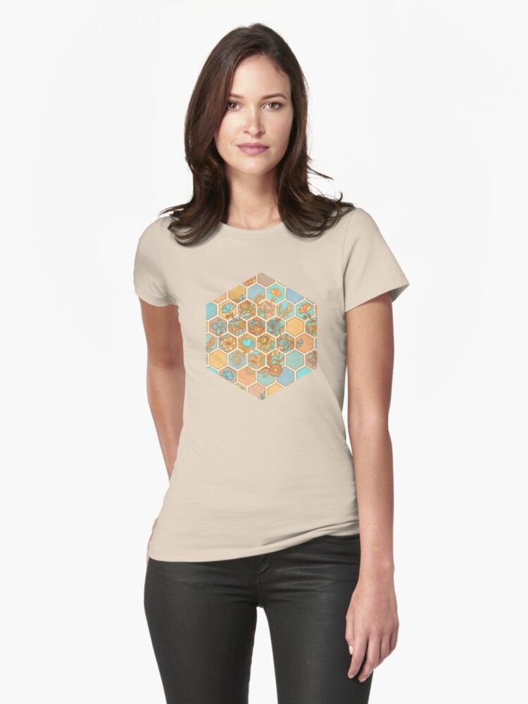 Golden Honeycomb Tangle - hexagon doodle in peach, blue, mint & cream by micklyn