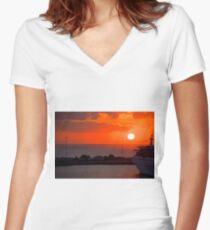 Sunrise over Heraklion Harbour Women's Fitted V-Neck T-Shirt
