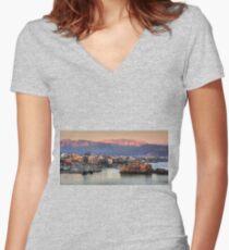 Heraklion Sunrise Women's Fitted V-Neck T-Shirt