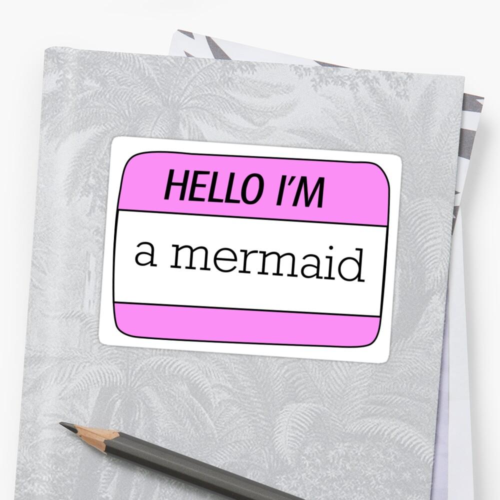 Pegatinas «Hola, soy una etiqueta de nombre de sirena» de ...