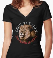 Cecil The Lion Women's Fitted V-Neck T-Shirt