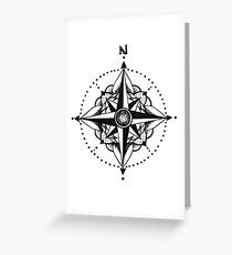Dotwork Compass Mandala Greeting Card
