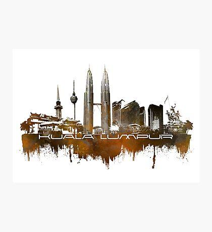 Kuala Lumpur skyline city brown Photographic Print