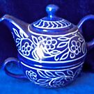 Blue teapot and cup by Shulie1
