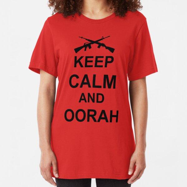 Keep Calm and Oorah - Marines Slim Fit T-Shirt