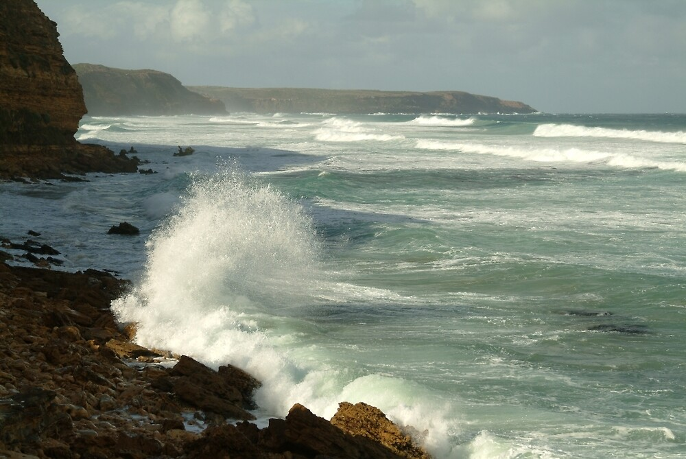 Joe Mortelliti Gallery - White water on Nelson Bay at the south end of Portland, west coast of Victoria, Australia.  by thisisaustralia