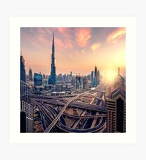 Dubai sunset Art Print
