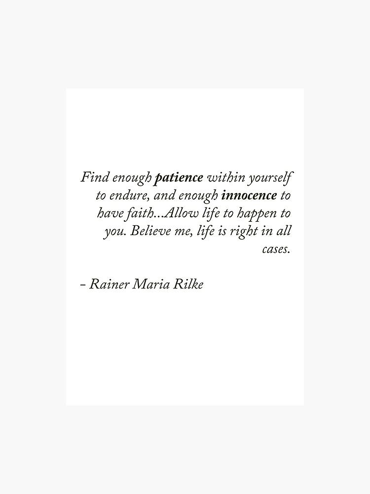 Rainer Maria Rilke Quote | Photographic Print