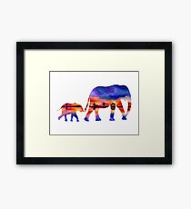 Elephant  Sunset  Silhouette  Framed Print