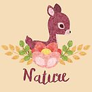 Little deer with flower and leaves by shadee