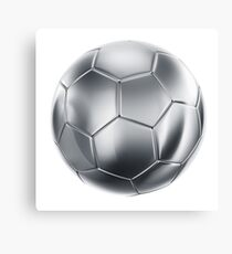 Silver soccer ball Canvas Print
