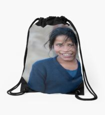 Happy Young Girl in Nepal Far West Drawstring Bag