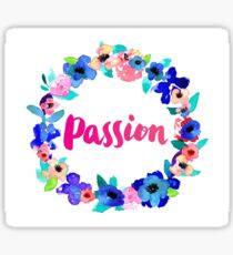 Passion Watercolor Brush Lettering Flowers Floral Wreath Sticker