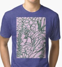 Pink flowers green leaves Tri-blend T-Shirt