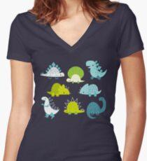 Dinosaurs Women's Fitted V-Neck T-Shirt