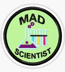 Mad Scientist Geek Merit Badge Sticker