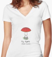 Fly Agaric (without smiley face) Women's Fitted V-Neck T-Shirt