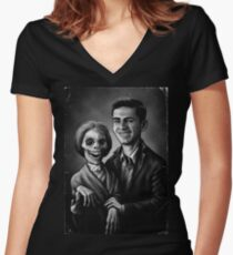 Bates Family Portrait Women's Fitted V-Neck T-Shirt