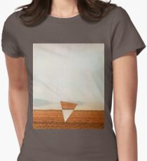 Minimalist collage desert landscape with inverted triangle Women's Fitted T-Shirt