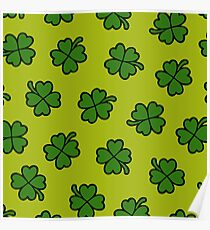 Lucky Four Leaf Clover Pattern Poster