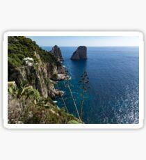 Faraglioni Sea Stacks and Agave Bloom Spikes - the Magic of Capri, Italy Sticker