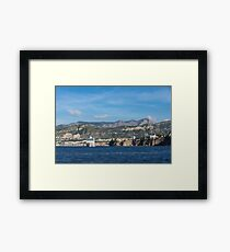 Cruising the Med - Cruise Ship, Imposing Cliff, and Calm Blue Mediterranean Water at Sorrento, Italy Framed Print