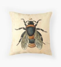 Vintage bee illustration Throw Pillow