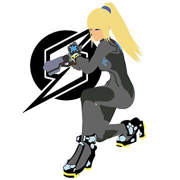 Zero Suit Samus Vector/Minimalist (Black Outfit, Black Logo) by Alseias