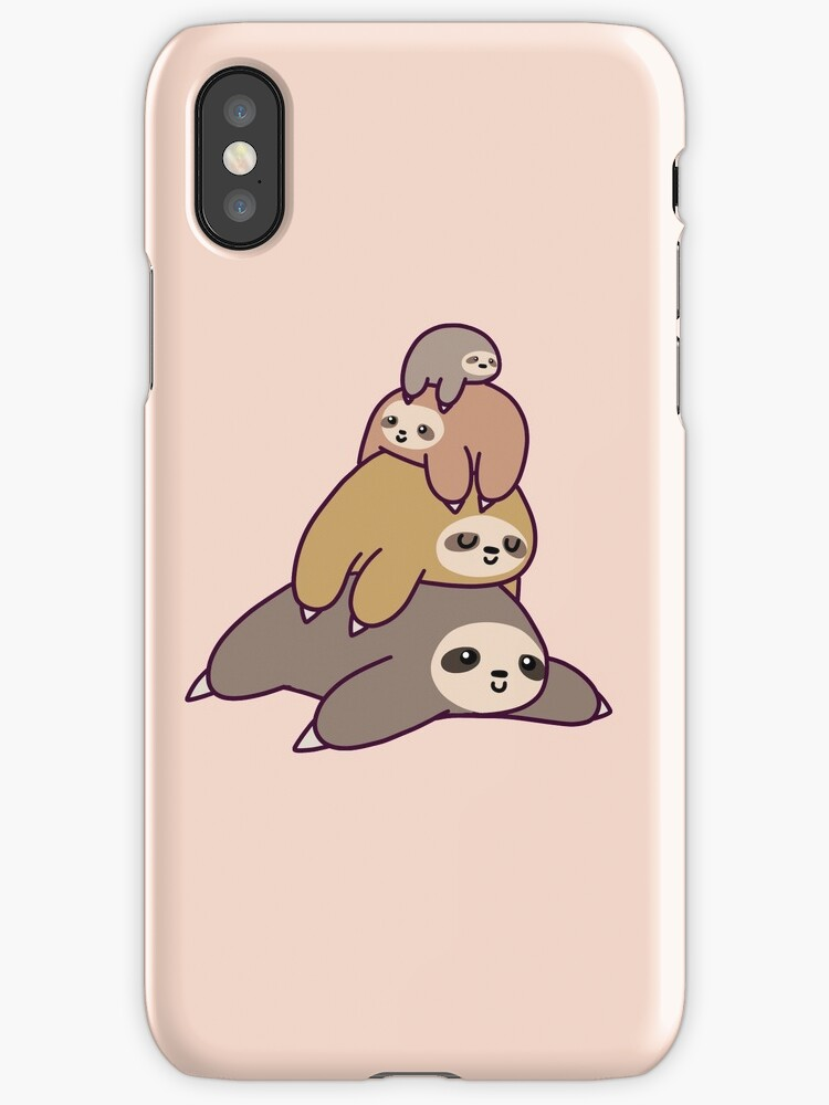 sloth iphone case quot sloth stack quot iphone cases amp skins by saradaboru redbubble 6114
