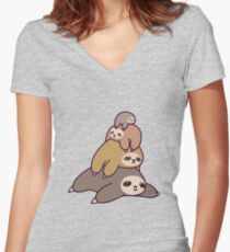 Sloth Stack Women's Fitted V-Neck T-Shirt