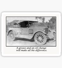 Get well, vintage car waiting for grease and oil change.humor. Sticker