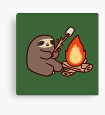 Campfire Sloth Canvas Print