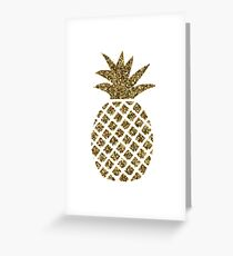 gold glitter pineapple Greeting Card