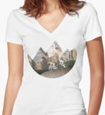 Mountain Biking Women's Fitted V-Neck T-Shirt