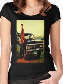 supernatural tv dean baby impala fan art Women's Fitted Scoop T-Shirt