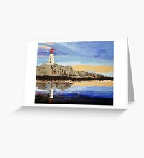 Lighthouse Reflection On The Water Greeting Card