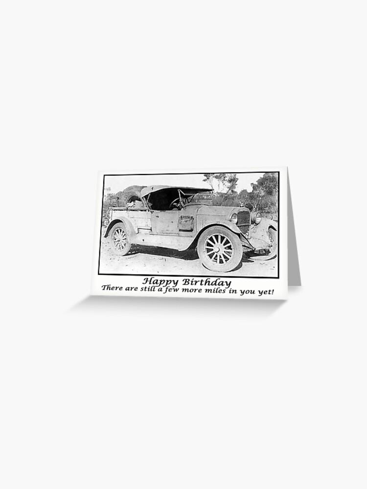Voiture 1930 Vintage Joyeux Anniversaire Humour Photo Noir Et Blanc Carte De Vœux