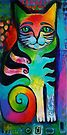 Kittycat 1 acrylics by Karin Zeller