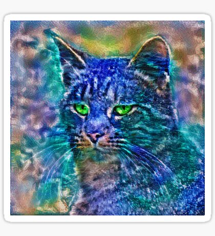 Artificial neural style Blue cat avatar Sticker