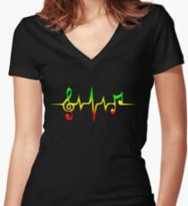 Music Pulse, Reggae, Sound Wave, Rastafari, Jah, Jamaica, Rasta Women's Fitted V-Neck T-Shirt