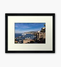 Postcard from Sorrento, Italy - the Harbor, the Boats, and the Famous Clifftop Hotels Framed Print
