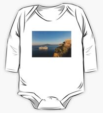 Sunset Postcard from Sorrento - the Sea, the Cliffs and Vesuvius Volcano Behind the Criuse Ship One Piece - Long Sleeve