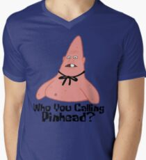 Camiseta para hombre de cuello en v ¿A quién llamas Pinhead? - Bob Esponja