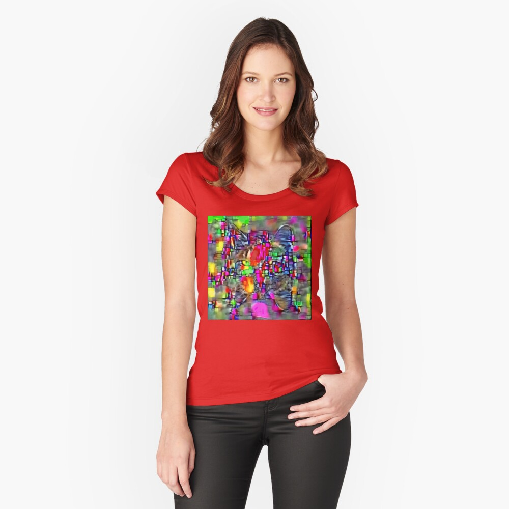 Artificial neural style Cubism mirror cat Fitted Scoop T-Shirt