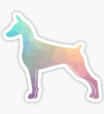 Doberman Pinscher Dog Colorful Geometric Pattern Silhouette - Pastel Sticker