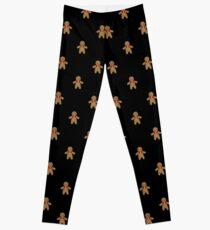 Gingerbread Pattern-Black Leggings