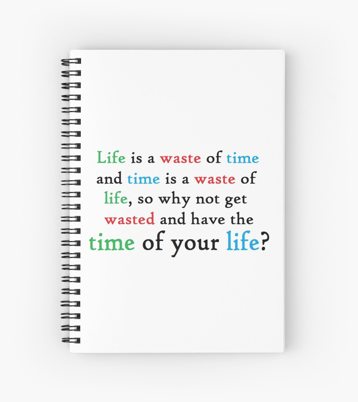 Funny College Student Quote Life Time Get Wasted Spiral