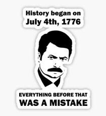 Ron Swanson History July 4 1776 (light) Sticker
