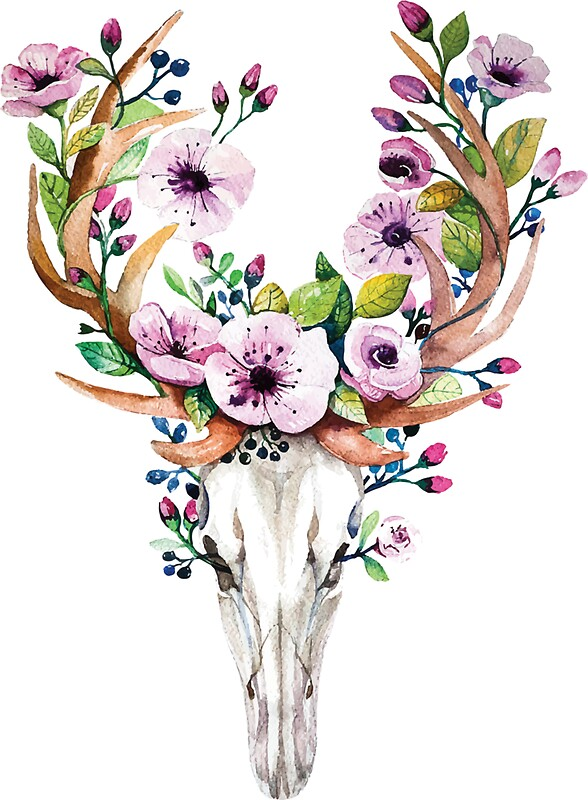 Quot boho watercolour skull with purple flower crown quot stickers by joellis redbubble